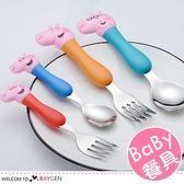 卡通粉豬造型304不銹鋼湯匙叉子 4件/餐具組