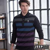 【JEEP】美式造型撞色條紋長袖POLO衫 (黑)