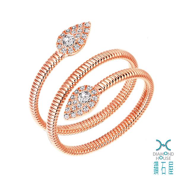【鑽石屋】玫瑰K金鑲鑽戒指