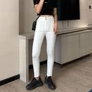 清倉特惠# 早秋泫雅同款新款高腰小腳牛仔褲女白色修身顯瘦緊身百搭褲子