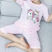 女寶寶睡衣夏季薄款女孩透氣兒童家居服女童小孩純棉卡通可愛超萌22 幸福第一站