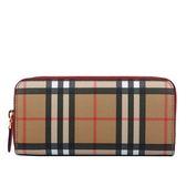 【BURBERRY】Vintage窄版格紋ㄇ型拉鍊長夾(紅) 8005389 A3358