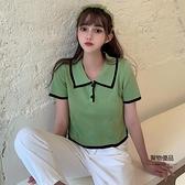 衫針織上衣女短袖T恤大碼短款衣服【聚物優品】