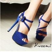 Kwoomi 寶藍色側邊蝴蝶結水鑽吊飾魚口細跟碎鑽細跟涼鞋高跟鞋晚宴鞋新娘鞋A31