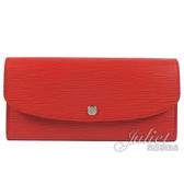 Louis Vuitton LV M60852 EMILIE EPI水波紋皮革扣式長夾.紅 全新 現貨【茱麗葉精品】