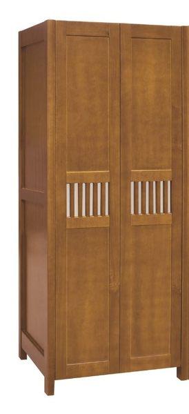 【森可家居】魯娜3尺柚木單吊開門衣櫃 7JF033-5 衣櫥 木紋質感 實木 美式鄉村風 日式無印
