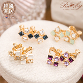 耳環 韓國直送水鑽方塊夾式耳環-Ruby s 露比午茶