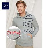 Gap男裝 Logo舒適連帽套頭休閒上衣 419909-麻灰色