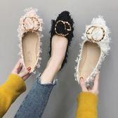 尖頭淺口單鞋子女款平底鞋百搭豆豆鞋溫柔網紅韓版女鞋 糖果時尚