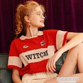 時尚紅色寬鬆翻領短袖T恤女ins潮2020年夏季新款半袖情侶上衣體桖 中秋節全館免運