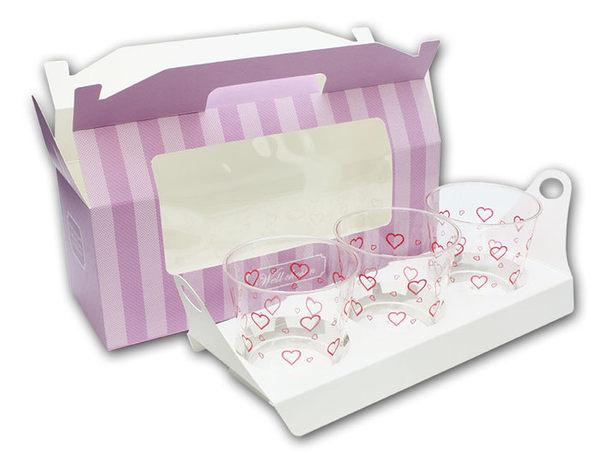 3入 開窗 紫/粉/咖手提盒 馬芬瑪芬盒 杯子蛋糕 蛋糕盒 慕斯 奶酪 月餅盒 包裝盒 禮盒 蛋塔盒