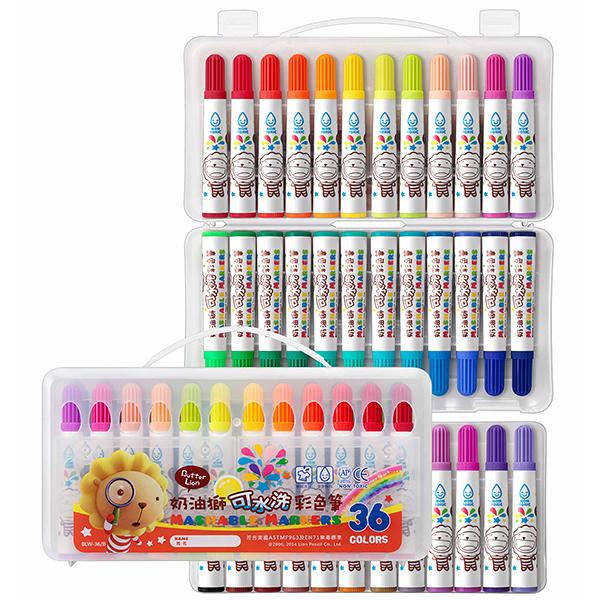 電視廣告促銷 奶油獅 BLW-36/B 36色 可水洗彩色筆  /盒