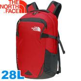 【The North Face 28L 15吋電腦背包 紅/瀝灰】 NF0A2RD7/附求生哨/電腦背包/登山背包/後背包★滿額送