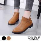 ZALULU愛鞋館 7JE171 簡約縫線素面平底短靴-黑/棕-偏小-36-39