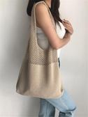 草編包 手提購物袋側背包包2020新款潮大容量麻手工編織包包女草編針織包 伊蘿