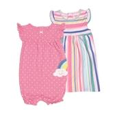 Carter s卡特 蝴蝶袖洋裝+兔裝+內褲 三件組 彩虹條紋 | 女寶寶套裝(嬰幼兒/兒童/小孩)