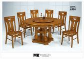 【MK億騰傢俱】AS310-01柚木色4.38尺轉盤餐桌(不含椅)