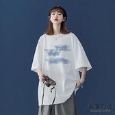 純棉短袖T恤大呎碼女裝潮設計感小眾寬松半袖上衣夏【毒家貨源】