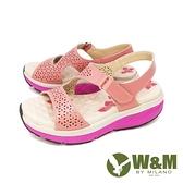 【南紡購物中心】W&M (女)雙帶厚底氣墊感涼鞋 女鞋-粉(另有紫)
