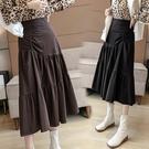 不規則棕色皮裙2021新款pu皮半身裙秋冬女中長款高腰a字大擺長裙 百分百