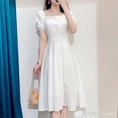 泡泡袖洋裝 白色夏季超仙氣洋裝女法式復古顯瘦仙女初戀泡泡袖長款方領長裙 雙十二全館免運