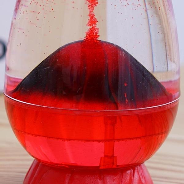 火山爆發沙漏計時器液體油水滴擺件
