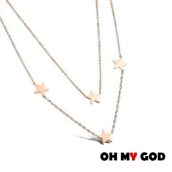 OH MY GOD星星雙層鎖骨鈦鋼項鍊