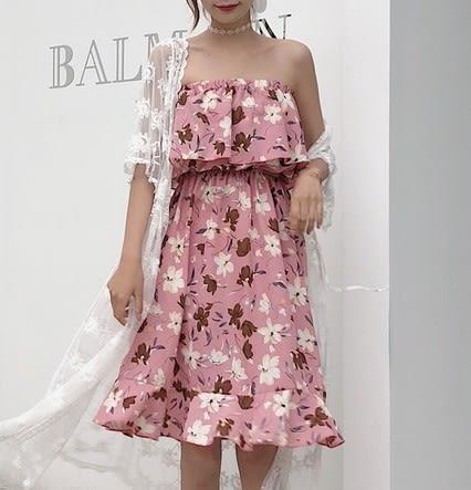 EASON SHOP(GU5884)五種穿法沙灘裙吊帶裙連身裙洋裝女一字領鬆緊縮口平口荷葉邊碎花雪紡韓版寬鬆