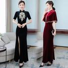 越南旗袍洋裝 旗袍改良版連身裙2021春季新款絲絨形體宴會敬酒服主持人晚禮服女