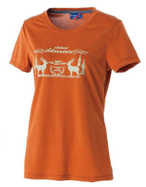 荒野 WILDLAND 女 印花 抗UV高透濕上衣 圓領上衣 T恤 短袖排汗衣 運動衣 吸濕快乾 除臭 0A51693-87棕色