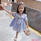 女童短袖洋裝 女童連身裙夏裝2021年新款洋氣學院風兒童裝女寶寶短袖女寶寶裙子 小天使