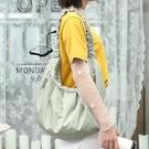 韓版女款餃子包大包包 大容量女士托特包 時尚女生單肩包 小清新復古托特包 文藝帆布褶皺女包包