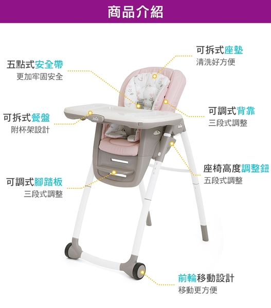 Joie Multiply 6in1 成長型多用途餐椅(JBE81800P粉) 3893元