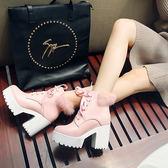 中大尺碼女鞋 雪地靴白色公主兔毛靴短靴粗跟馬丁靴