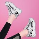 內增高女鞋2021新款皮面老爹鞋黑色運動鞋春秋小黑鞋休閒鞋潮 快速出貨