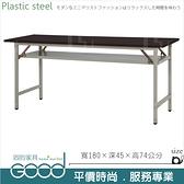 《固的家具GOOD》281-17-AX (塑鋼材質)折合式6尺直角會議桌-胡桃色