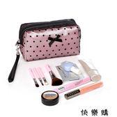 韓版簡約蕾絲波點可愛小淑女手包式收納包