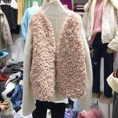 羊卷毛馬甲女2018秋冬新款背心中長款皮草羊羔毛坎肩百搭馬夾外套  西城故事