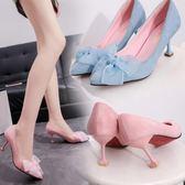 絨面粉色高跟鞋女顯瘦細跟7cm尖頭蕾絲蝴蝶結性感黑色百搭單鞋夏三角衣櫥