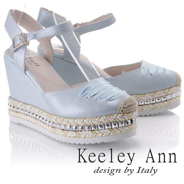 ★2018春夏★Keeley Ann夏季定番~雙色編織金屬滾邊鞋帶風全真皮楔形涼鞋(藍色)