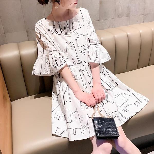 白色洋裝 洋裝女2020新款夏裝超仙甜美韓版寬鬆娃娃裙流行氣質顯瘦復古裙