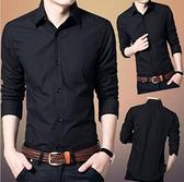 長袖襯衫-秋季男士長袖襯衫韓版修身黑色商務休閒職業正裝襯衣青年內搭寸衫 現貨快出