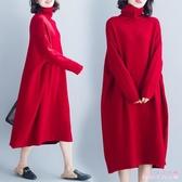 長袖洋裝 大碼遮肚連身裙顯瘦秋冬減齡氣質高領寬鬆針織打底長裙子 XN4815【Rose中大尺碼】