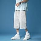 七分褲 字母七分褲男夏季薄款7分短褲外穿韓版潮流運動直筒寬鬆休閒褲子 非凡小鋪