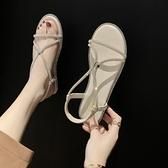 歐美風時尚水鑚露趾涼鞋女百搭低跟羅馬鞋夏季新款網紅涼鞋女 【全館免運】