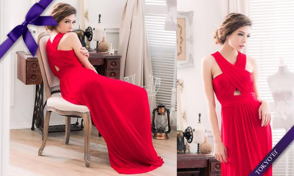 東京衣服 夏日午會 前後交叉抓皺性感鏤空 腰間細褶長禮服 紅
