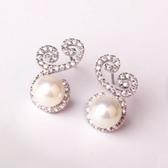 耳環 925純銀鑲鑽-唯美氣質白色情人節生日禮物女耳飾73du45【時尚巴黎】