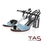 TAS素面牛漆皮繞踝繫帶水晶高跟涼鞋-天空藍