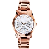 Relax Time 時尚達人日曆顯示手錶-白貝殼x玫塊金/38mm R0800-16-51
