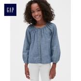 Gap女童 紐扣開襟插肩長袖牛仔上衣 498848-牛仔色